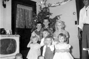 Christmas at Grandma and Grandpa Kaseman's farm house, circa 1959. Edward and Christina Kaseman's grandchildren. (Back, l-r) Dennis Schwind, Rickey Kaseman, Brunella Schwind. (middle) Douglas Schwind, (front l-r) Debbie Kaseman, Steven Schwind, and Susan Kaseman. The two little heads, we surmise, are Tamara Kaseman and Christina Kaseman. Love the television.