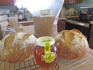 Half fresh ground whole wheat loaf to the left, unbleached white to the right. Honey in the middle...